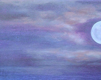 Violet print moon Hawaii art: metal print of acrylic painting - light purple, lavender, periwinkle & pink by Kauai Hawaii artist Donia Lilly