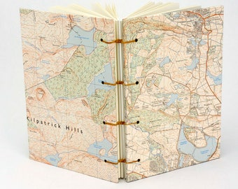 Personalised gift, Dunbartonshire Journal, Reclaimed Map Notebook, Travel Journal, Glasgow, Scottish Sketchbook, Guestbook