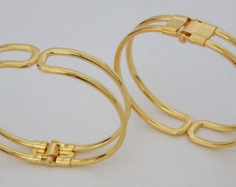 Super Shiny Gold Plated Cuffs/Bangles with Spring Closure 2 Pack