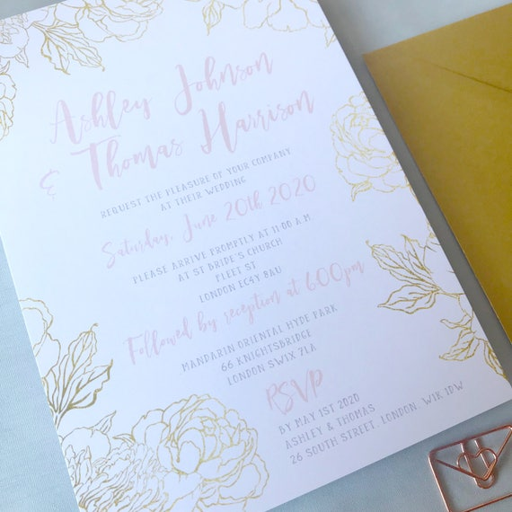 Gold and blush wedding invite, Printable wedding invitation floral, Gold wedding invitation template, Blush pink wedding invitation uk, A5