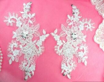 """DH50 White Floral Venise Lace Mirror Pair Silver Sequin Appliques 7"""" (DH50X-whsl)"""