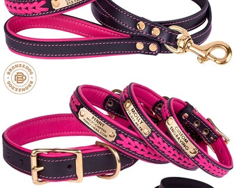 Dog Collar Leash Set Pink Leather Personalized Custom Engraved Name Tag Brass Hardware Soft Padded