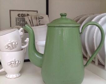 Vintage enamel  coffee pot in lovely green