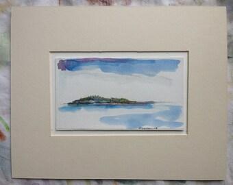Maine Art Handmade - Far Island - Original Art - Maine Landscape - Olivia Atherton