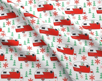 Retro Camper Fabric - Vintage Christmas Trailers On White By Lilcubby - Christmas Camping Trailer Cotton Fabric By The Yard With Spoonflower