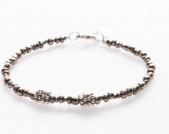 Silver Boho Beaded Bracelet