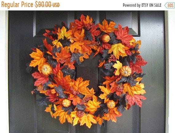 SUMMER WREATH SALE Orange Pumpkins with Orange Black Leaves Halloween Wreath, Halloween Decor, Halloween Decoration