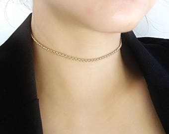 Chain Choker, Gold Chain Choker, Rolo Choker, Gold Rolo Choker, Gold Choker, Choker, Simple Gold Choker, Rolo Choker Necklace, Gold Necklace