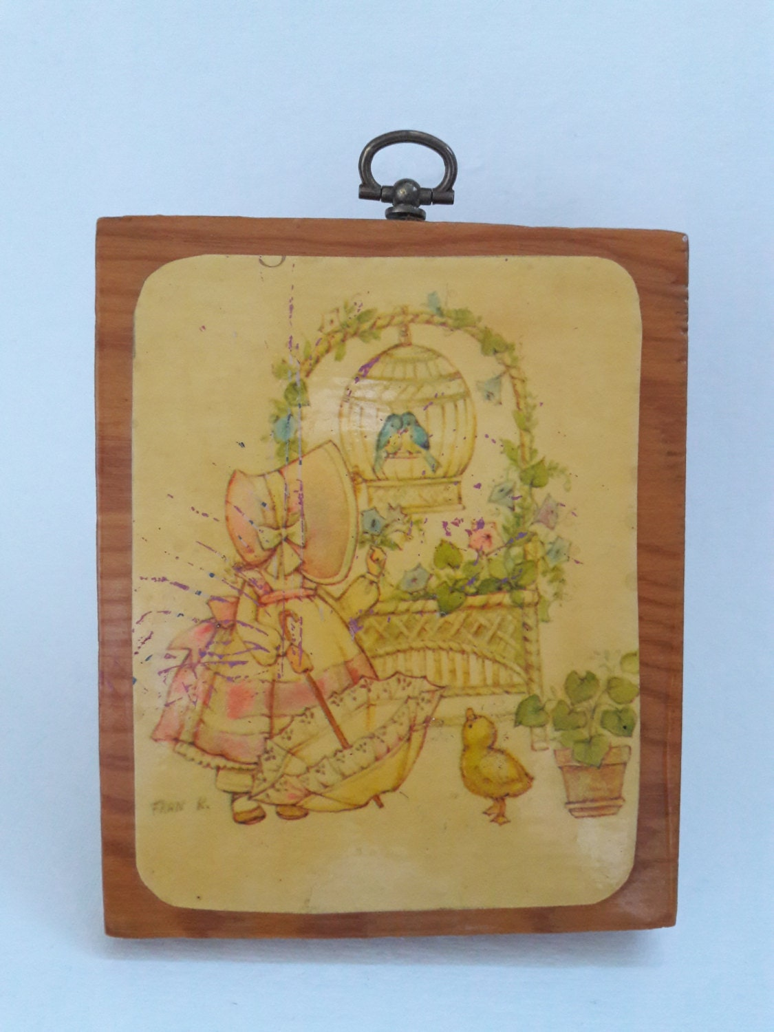 Vintage Fran K. Wooden Plaque Wall Decor