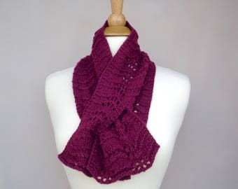 Berry Purple Keyhole Scarf, Pull Through, Cotton & Cashmere, Hand Knit Neck Scarf, Super Soft Luxury