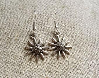 Tibetan Silver Sunflower Charm Earrings