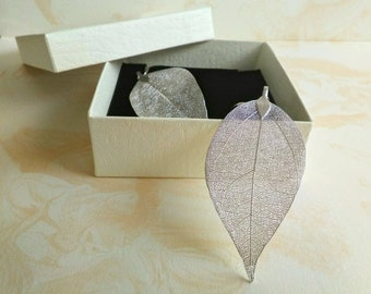 Real leaf earrings, sterling silver, silver dipped leaves natural jewelry, woodland jewelry, wedding jewelry, bridal earrings gift for her