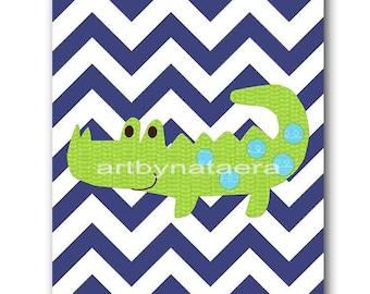 Crocodile Nursery Baby Boy Nursery Decor Baby Nursery Print Children Art Print Nursery Print Boy Art Crocodile Wall Art Blue Navy Green