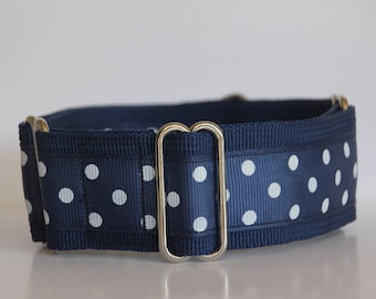 """Whippet - White Dots on navy 1.5"""" Martingale Collar"""