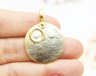 1 Pc 24K Matt Gold Plated Medallion Charms with base, 26x37 mm Arabic Calligraphy Pendant, Gold Pendants - Medallion Pendant