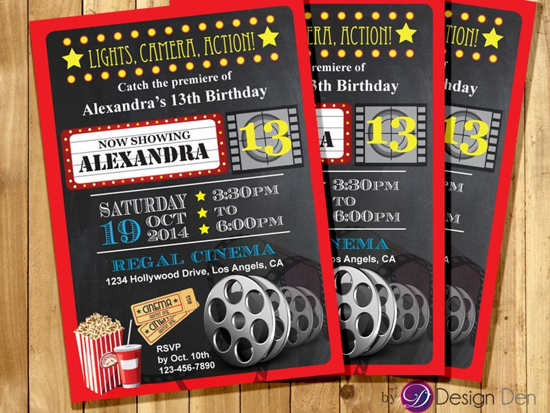 Custom movie cinema theater birthday party invitations kids zoom filmwisefo Gallery