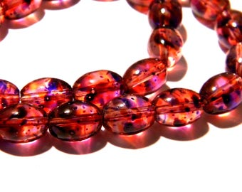glass painted tranparent - F180 3 10 - 11 x 8 mm oval glass beads - purple - Pearl