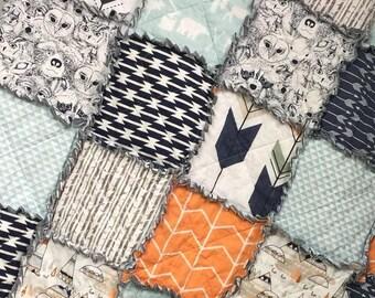 Baby Quilt- Woodland Baby- Baby Rag Quilt- Crib Quilt- Crib Bedding- Forest Theme- Woodland Theme