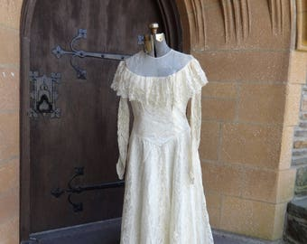 vintage original women's wedding dress 1940's lace satin bridal ivory original 1950's prom formal gown