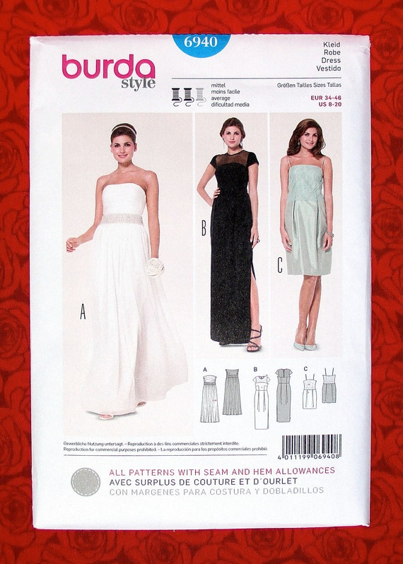 Burda Sewing Pattern 6940 Bridal Gown, Formal Evening Dress, Long ...