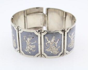 """Vintage Siam Bracelet Size 6.25"""" With Dancing Fairies in Sterling Silver 52g. [8136]"""