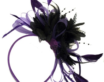 Purple Hoop & Black Feathers Fascinator On Headband