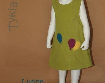 Kermesse - Little girl dress in green fleece - 4 years old