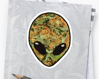 Weed Alien Sticker | Trippy Sticker, Laptop and Skateboard Stickers, Stoner Stickers