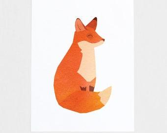 Happy Fox Art print, Children's room art, Nursery art