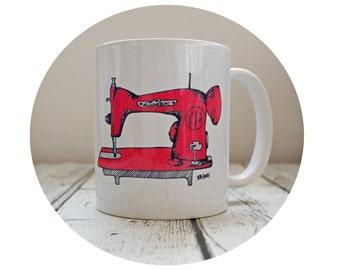 Sewing Machine Mug, 11 oz Coffee Cup, Sublimated Ceramic Mug, Tea, Seamstress Gift, Red, Sew Crafty, Retro Mamma, Gift for Her