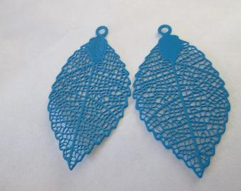 2 prints turquoise leaf 40 x 21 mm