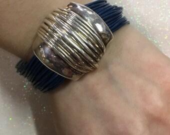 Sterling Silver Blue Cord Isreal .925 Modernist Bracelet Magnet Clasp