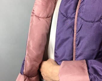 Vintage 80s Lilac Puffer Trench Coat Lavender Amethyst Coat Small Sz 6 Us Hipster Mid Length Retro Jacket Warm Normcor Coat Old School 1980s
