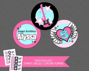 Cute Rocker Girl Rockstar 2'' Cupcake Toppers / Birthday Party Circles