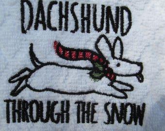 Dachshund Through the Snow Kitchen Towel