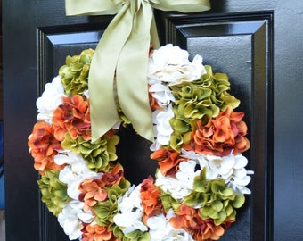 Fall Hydrangea Wreath, Hydrangea Fall Wreath,Thanksgiving Wreath, Fall Decor, Sage, Orange Pumpkin Spice Fall Wreath