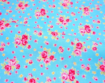 Roses print with blue background Fat Quarter 19.6 by 21inches nc53