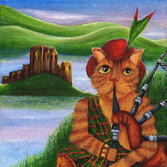Cat Playing Bagpipes, Scottish Orange Tabby Cat in Kilt, 8x10 Fine Art Print