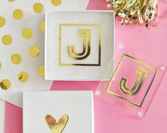 Personalized Coasters Custom Coasters Drink Coasters Monogram Coasters Bridesmaid Gift Bridal Party Gift Ideas (EB3146) Coaster Set