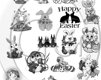 Sepia Fused Glass Decals - Easter