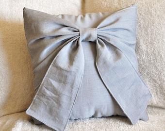 Gray Bow Pillow Decorative Throw Bow 14 x 14 Pillow