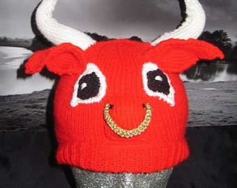 HALF PRICE SALE Instant Digital File Pdf Download Red Bull Beanie Hat pdf knitting pattern