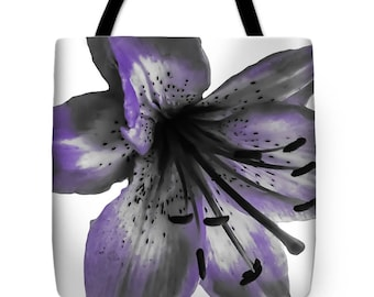 Purple Lily Tote Bag,Grey White,Floral,Designer Bag,Beach Bag,Shoulder Bag,13x13 16x16 18x18,Boho Chic,Shabby Chic,Fashion Flower Bag