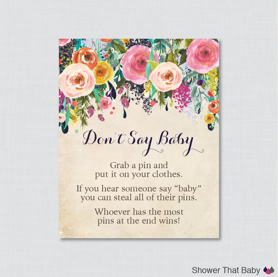 Baby Shower Clothes Pin Game Custom Floral Don't Say Baby Baby Shower Game Printable Diaper