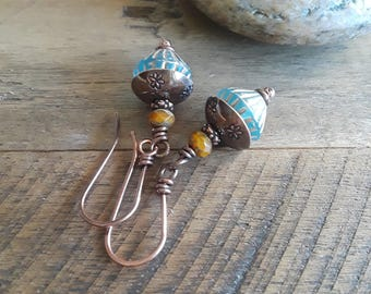 Vintage Shabby Chic Copper Earrings - Aqua and Copper Earrings - Vintage Earrings - Shabby Chic Copper Earrings - Vintage Jewelry