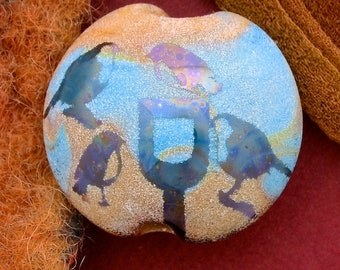 "Handmade Lampwork Focal Bead ""Birds in the Garden"" SRA Sandblasted Glass ~ Iridescent Lustre Picture Bead ~ Sky & Aqua"