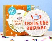 Cross stitch kit, gifts for her, funny cross stitch, gifts for tea lover, mothers day, gifts for mum, pattern, starter kit, home decor