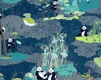 Pandalicious Panda Garden Naptime Cotton Jersey- Art Gallery Fabric