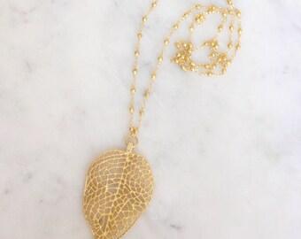 Large Gold Leaf Necklace