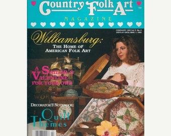 BTS Country Folk Art Magazine February 1993 Valentine, Quilting, Board Games